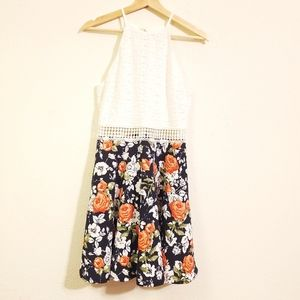 Papaya Cream and Floral Dress
